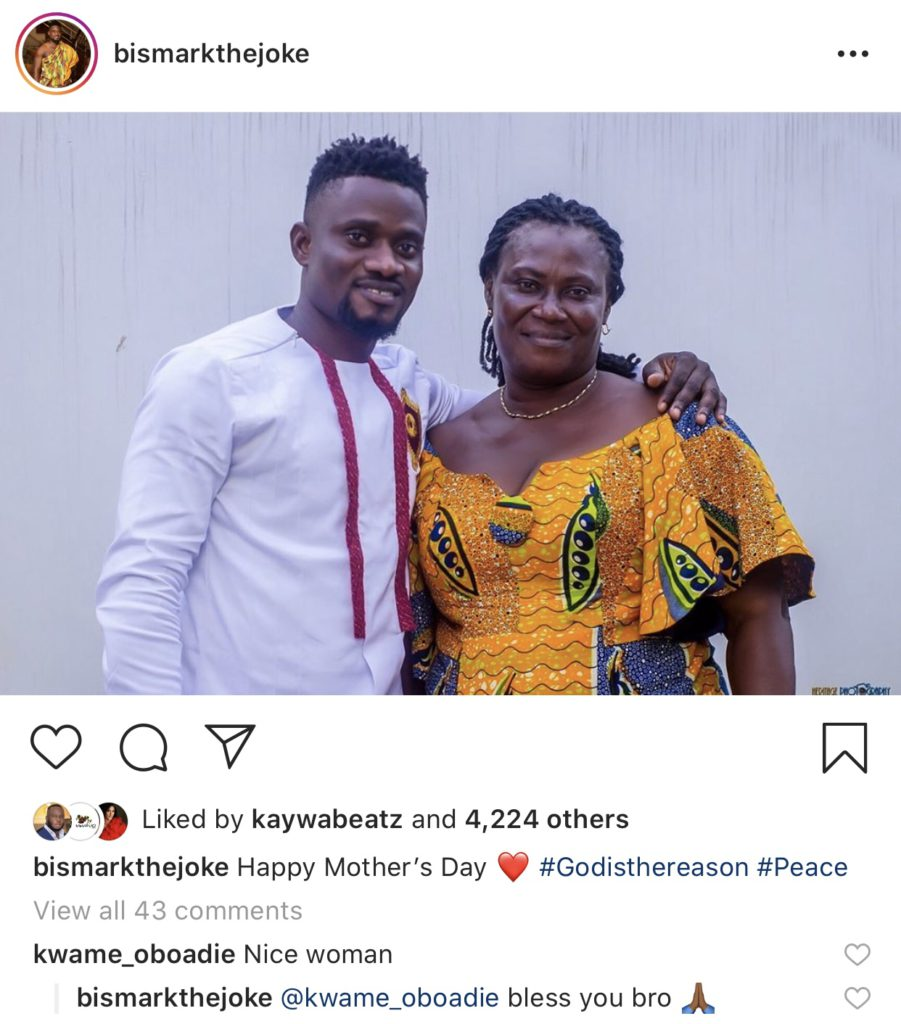 Comic actor, Bismark the Joke wished his mom a happy Mother's Day on social media.