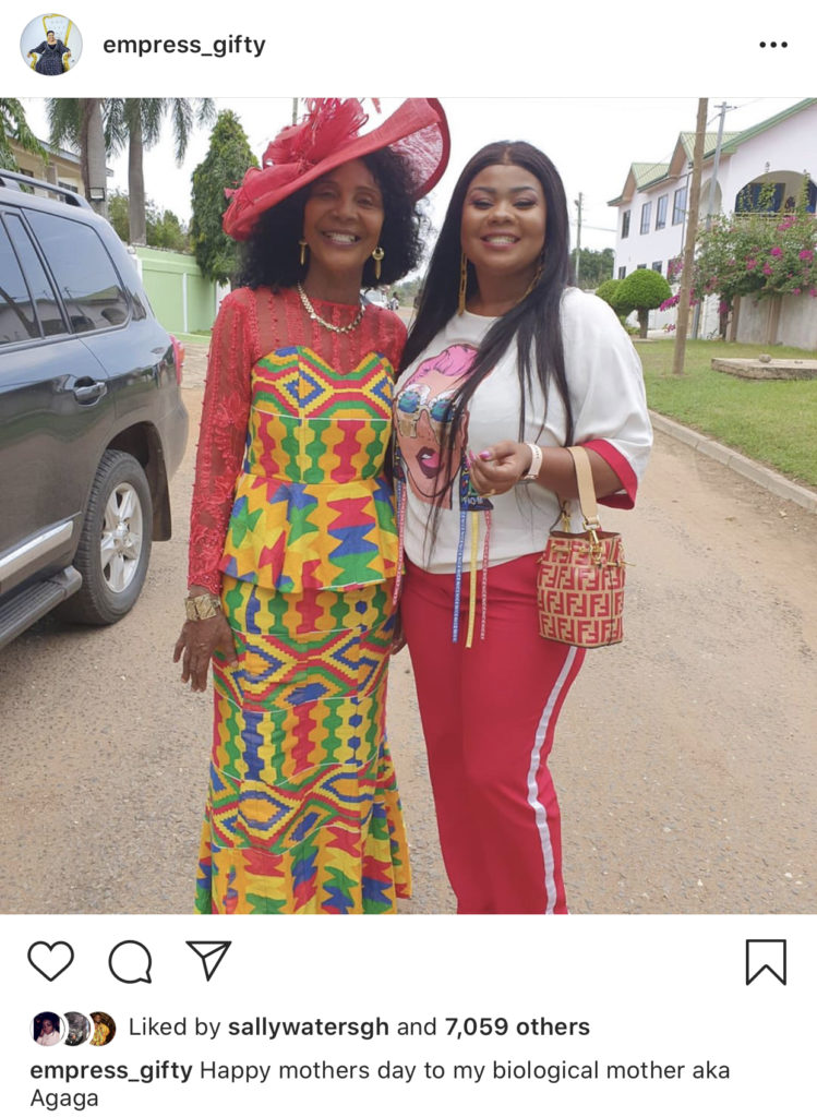 Gifty Adorye (Empress Gifty) celebrates her biological mother on Instagram, she calls her by her moniker, ''Agaga''.