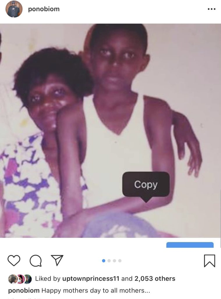Mother's Day: Yaa Pono (Ponobiom) shows off an old photo of himself and his mother