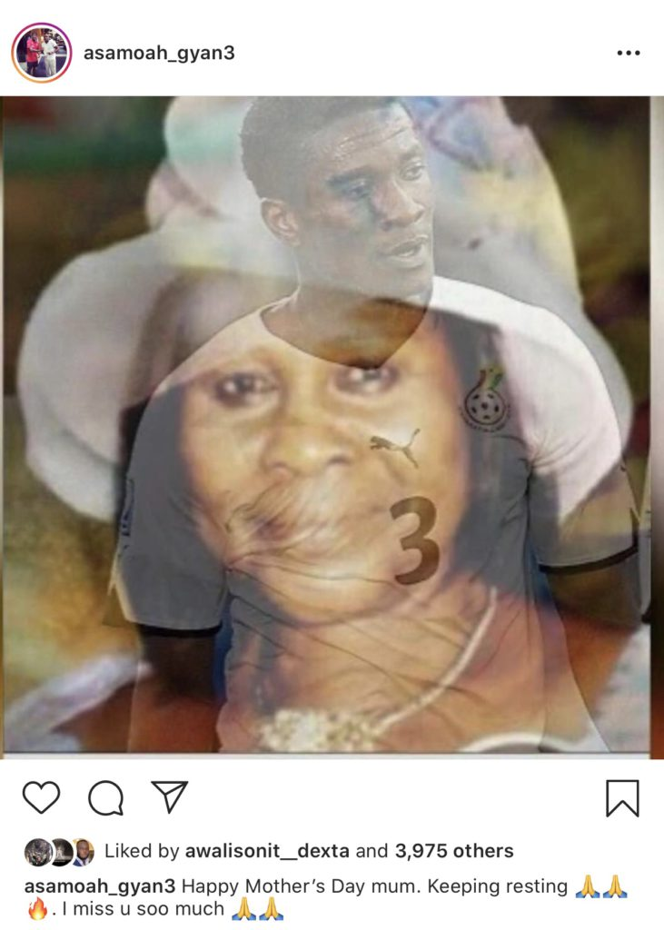 Ghanaian footballer, Asamoah Gyan posts photo of his mom to wish her Mother's Day on popular photo-sharing app, Instagram