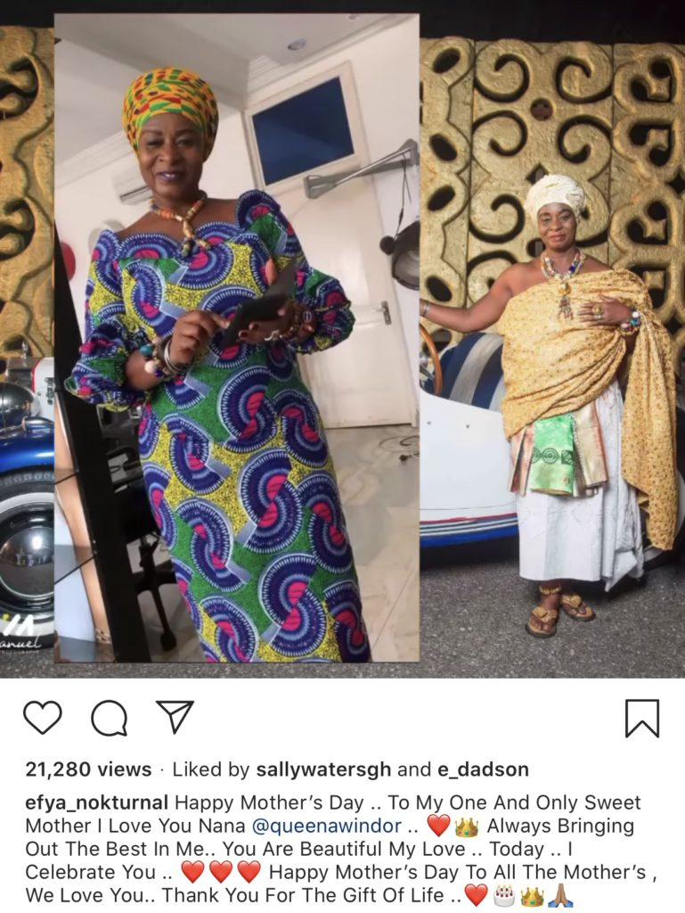 Mother of Singer Efya, Nana Adwoa Awindor, was celebrated by her daughter on Mother's Day
