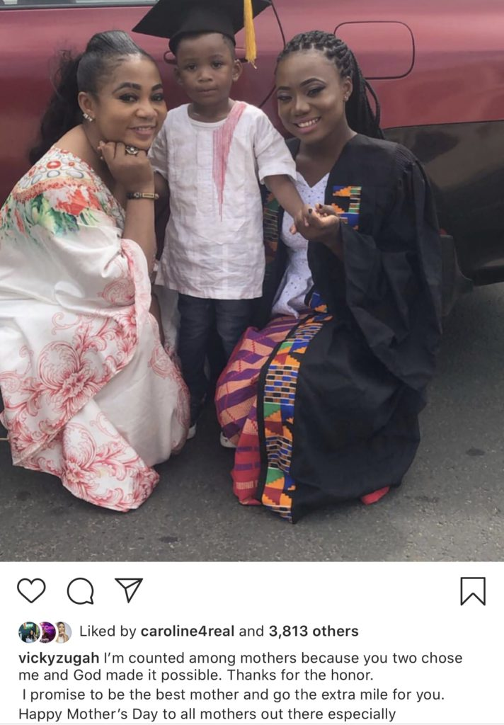 Actress Vicky Zugah celebrated all mothers but also thanked her son for making her a proud mother.