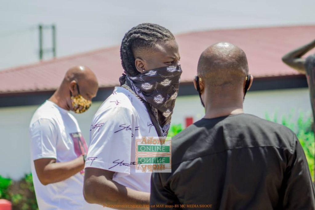 Stonebwoy at the funeral grounds of Don Tsegah's mum