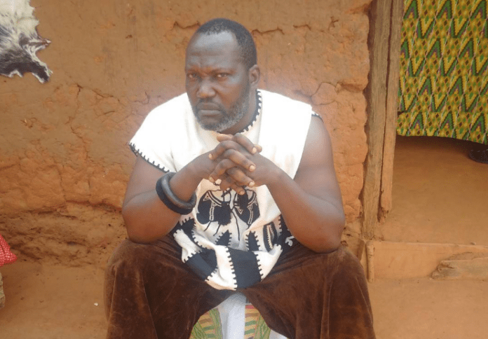 Fallen actor, Bishop Bernard Nyarko on a movie set