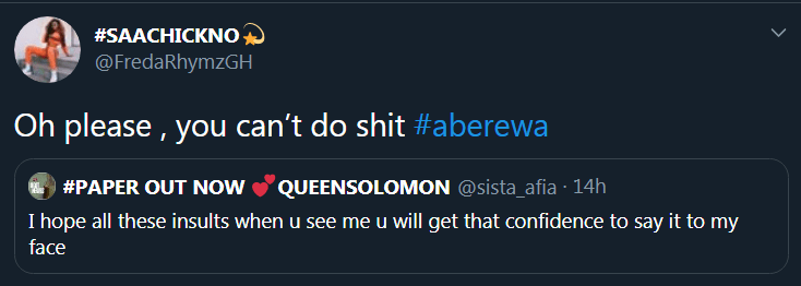 Sister Afia dares rapper Freda Rhymz on Twitter / Adomonline.com