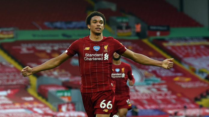 Trent Alexander-Arnold of Liverpool Celebrates after putting liverpool ahead during the Premier League match between Liverpool FC and Crystal Palace at Anfield Image credit: Getty Images