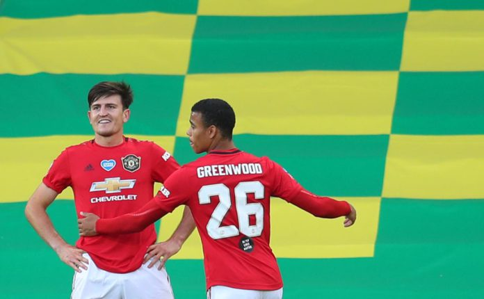 Harry Maguire of Manchester United celebrates with Mason Greenwood of Manchester United after scoring his teams second goal during the FA Cup Quarter Final match between Norwich City and Manchester United at Carrow Road on June 27, 2020 in Norwich, Englan Image credit: Getty Images