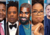 A collage of Dangote, Jay Z, Kanye, Oprah, Adenuga. Photo sources: PageSix/Nairametrics/HollywoodReporter Source: UGC