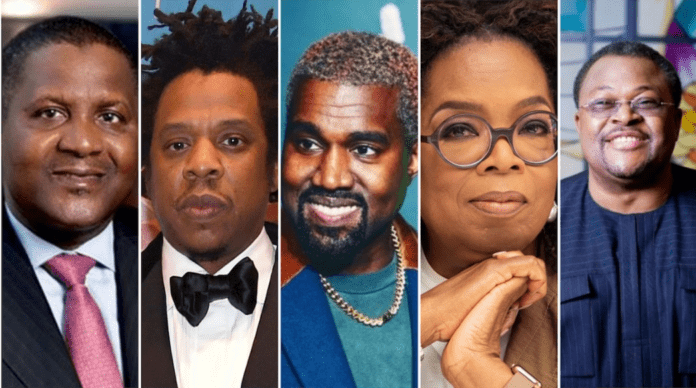 A collage of Dangote, Jay Z, Kanye, Oprah, Adenuga. Photo sources: PageSix/Nairametrics/HollywoodReporter Source: UGC