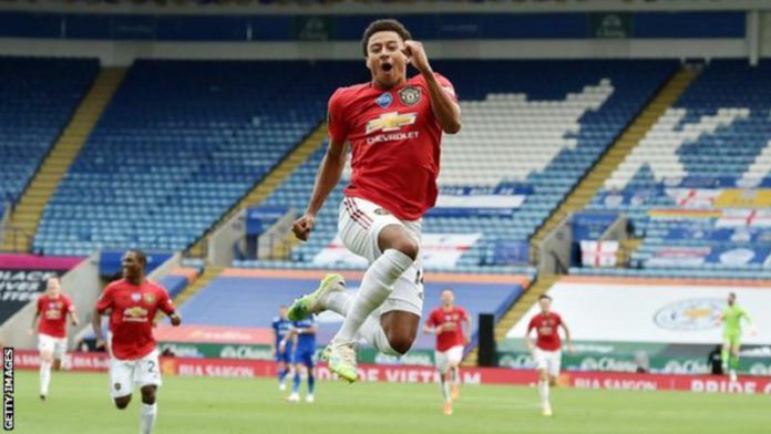 Jesse Lingard's only Premier League goal of the 2019-20 season came on the final day in his side's 2-0 win over Leicester City