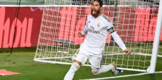 La celebración de Sergio Ramos tras anotar el 1-0 | Real Madrid-Getafe Image credit: Getty Images