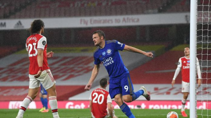 Jamie Vardy of Leicester City celebrates after scoring his team's first goal during the Premier League match between Arsenal FC and Leicester City at Emirates Stadium on July 07, 2020 in London, England. Football Stadiums around Europe remain empty due to coronavirus Image crediJamie Vardy of Leicester City celebrates after scoring his team's first goal during the Premier League match between Arsenal FC and Leicester City at Emirates Stadium on July 07, 2020 in London, England. Football Stadiums around Europe remain empty due to coronavirus Image credit: Getty Imagest: Getty Images