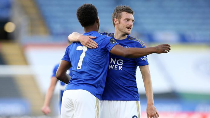 Jamie Vardy and Demarai Gray celebrate Image credit: Getty Images