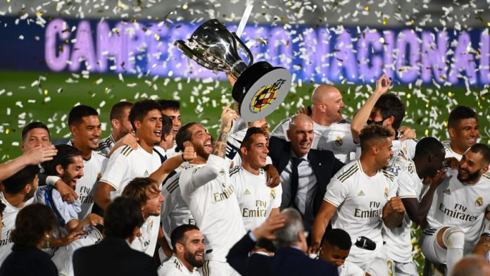 Real Madrid celebrate their title win Image credit: Getty Images