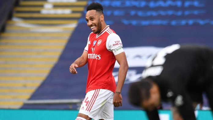 Pierre-Emerick Aubameyang celebrates scoring for Arsenal against Manchester City. Image credit: Getty Images