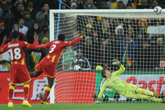 Gyan struck the post against Uruguay