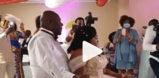 Kyeiwaa dances with her husband at her wedding ceremony