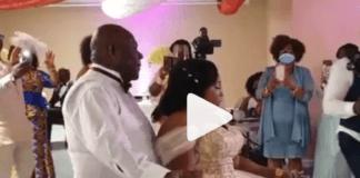 Kyeiwaa dances with her husband at her wedding ceremony