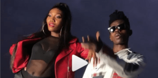 L-R: Wendy Shay and Strongman on the set of Mokobe music video shoot
