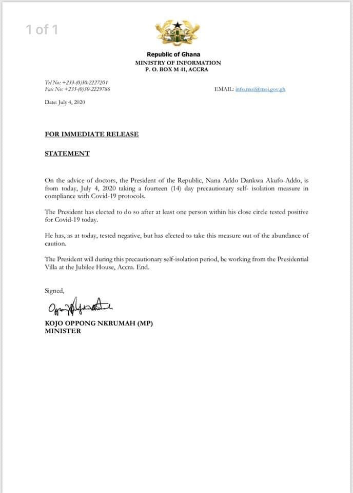 Breaking News: Akuffo Addo, Likely To Test Positive For Coronavirus As He Self-Isolates For 14 Days 2