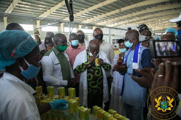 Akufo Addo tastes eku juice