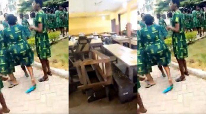 Students of Tweneboa Kodua SHS on rampage