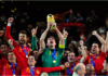 Iker Casillas of Spain celebrates lifting the World Cup with team mates during the 2010 FIFA World Cup South Africa Final match between Netherlands and Spain at Soccer City Stadium on July 11, 2010 in Johannesburg, South Africa Image credit: Getty Images