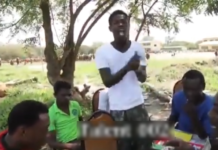 Singer Fameye in a white t-shirt shows off his rap prowess before the limelight
