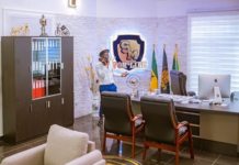 "Shatta Wale makes a call in his personal ""Shatta Movement"" office /Photo Credit: @kwabenaawuku"
