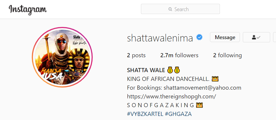 This is how Shatta Wale's Instagram page currently looks /Adomonline.com