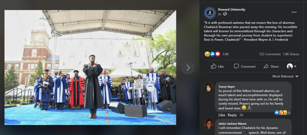 Boseman graduated from Howard University