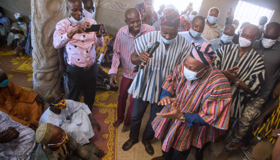 Former president John Dramani Mahama has been given a new title by the Chief of Bole, Bole Wuraa Sarfo Kutuge Feso I and his elders during his visit to the district in the Savannah Region of northern Ghana. /Adomonline.com
