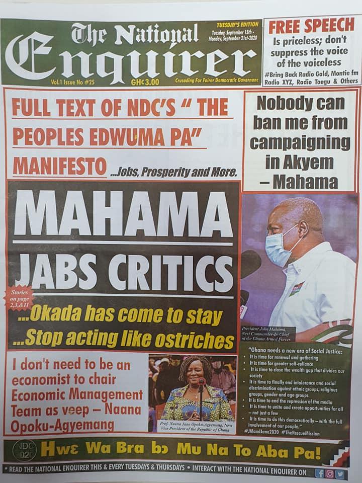 Newspaper headlines of Tuesday, September 15, 2020 59