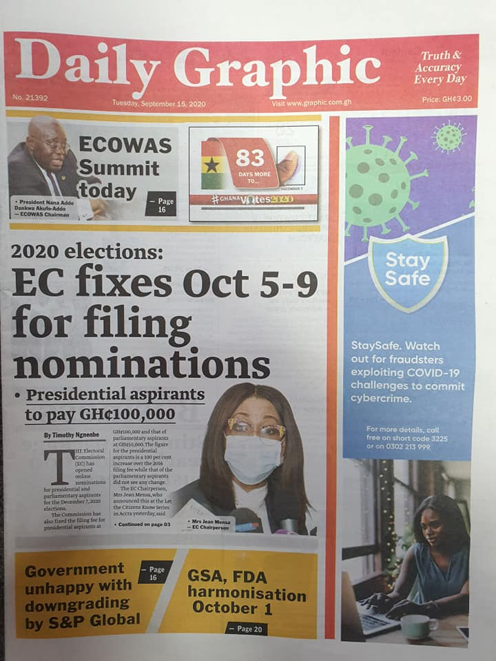 Newspaper headlines of Tuesday, September 15, 2020 55