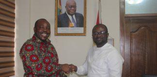 Sports Minister Isaac Asiamah with GFA boss Kurt Okraku