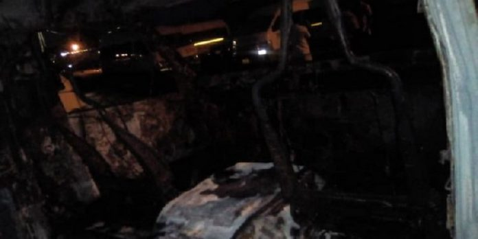 The STC bus burnt by alleged secessionist group