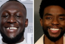 "Stormzy said Boseman (right) would be ""forever a superhero in our hearts"""