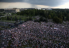 FILE PHOTO: Opposition supporters take part in a rally against presidential election results near the Independence Palace in Minsk, Belarus August 30, 2020. Tut.By via REUTERS