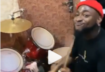 Davido showcases drumming skills in a church in Nigeria