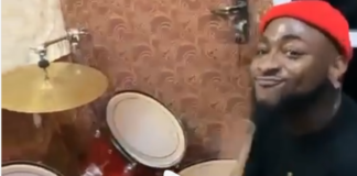 Davido showcases drumming skills in a church in Nigeria