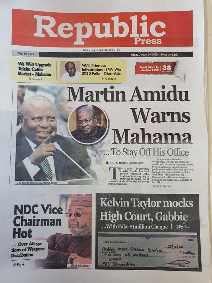 Newspaper Headlines: Friday, October 30, 2020 10