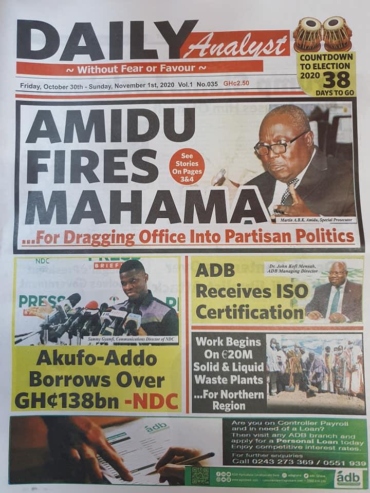 Newspaper Headlines: Friday, October 30, 2020 12