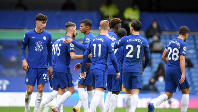 JORGINHO OF CHELSEA CELEBRATES WITH TEAMMATES AFTER SCORING HIS SIDES FOURTH GOAL DURING THE PREMIER LEAGUE MATCH BETWEEN CHELSEA AND CRYSTAL PALACE AT STAMFORD BRIDGE ON OCTOBER 03, 2020 IN LONDON, ENGLAND. IMAGE CREDIT: GETTY IMAGES