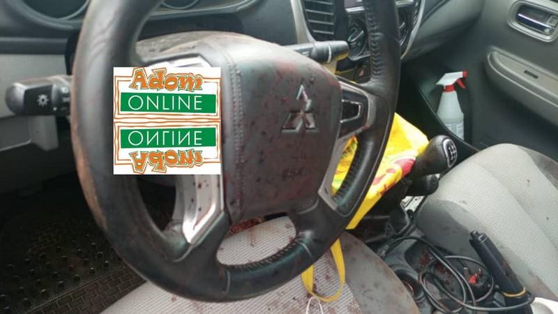 Sad photos of Mfantseman MP's car from crime scene