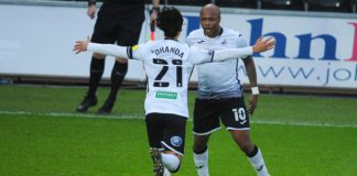 Andre Ayew celebrates with Swansea City teammate