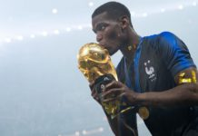 MOSCOW, RUSSIA - JULY 15: Paul Pogba of France celebrates with the World Cup Trophy following his sides victory in the 2018 FIFA World Cup Final between France and Croatia at Luzhniki Stadium on July 15, 2018 in Moscow, Russia. (Photo by Matthias Hangst/Getty Images)
