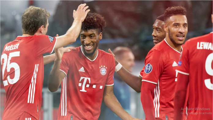 Kingsley Coman scored two and created another as Bayern Munich flexed their considerable muscle to defeat Atletico Madrid in the UEFA Champions League. - © Peter Schatz/Peter Schatz / Pool