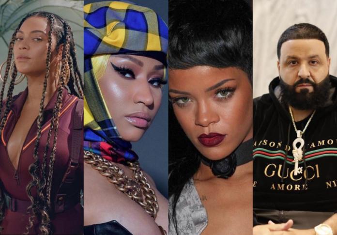 L-R: Beyonce, Nicki Minaj, Rihanna and DJ khaled