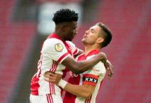 Kudus Mohammed celebrates with Ajax teammate