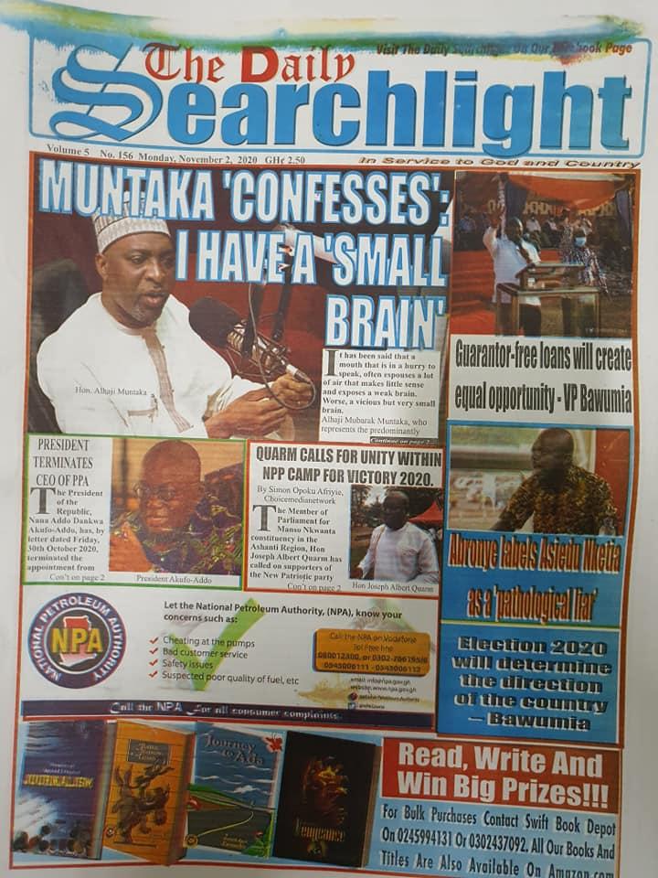 Newspaper headlines of Monday, November 2, 2020 29